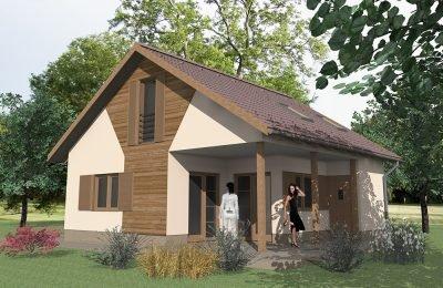 Rengeteg fa burkolatokkal ellátott házikó
